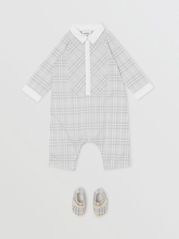 Bib Detail Check Cotton Jumpsuit in Pale Grey - Children | Burberry - cell image 1