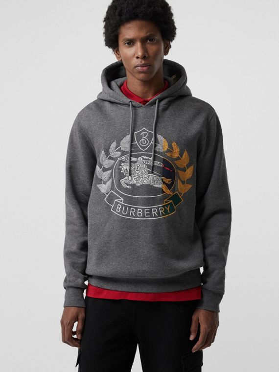 Embroidered Crest Jersey Hoodie in Mid Grey Melange
