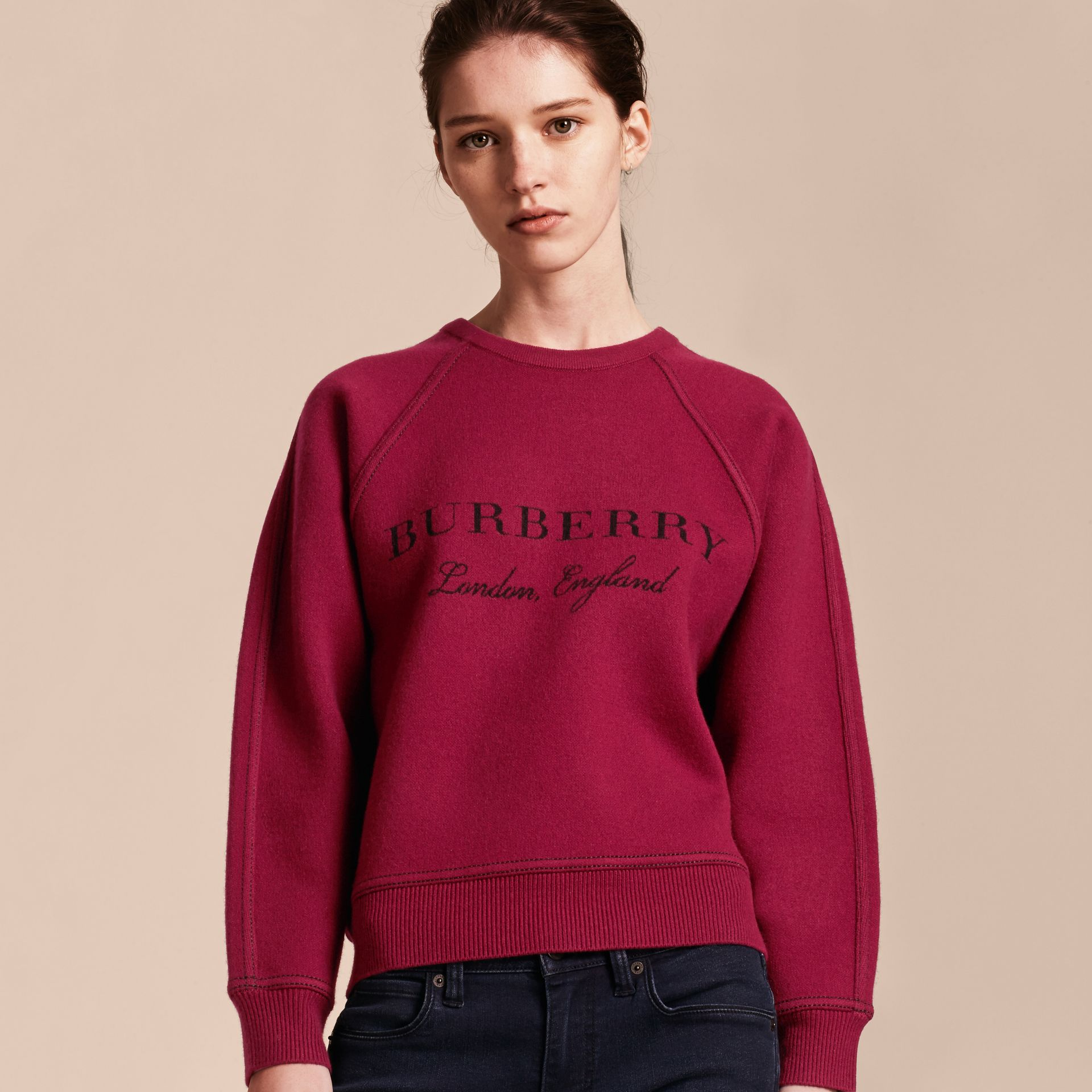 Topstitch Detail Wool Cashmere Blend Sweater in Burgundy - Women | Burberry - gallery image 6