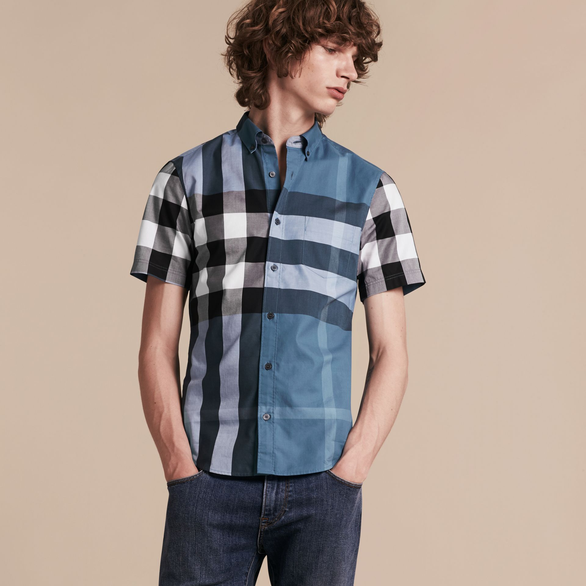 Lupin blue Short-sleeved Check Cotton Shirt Lupin Blue - gallery image 5