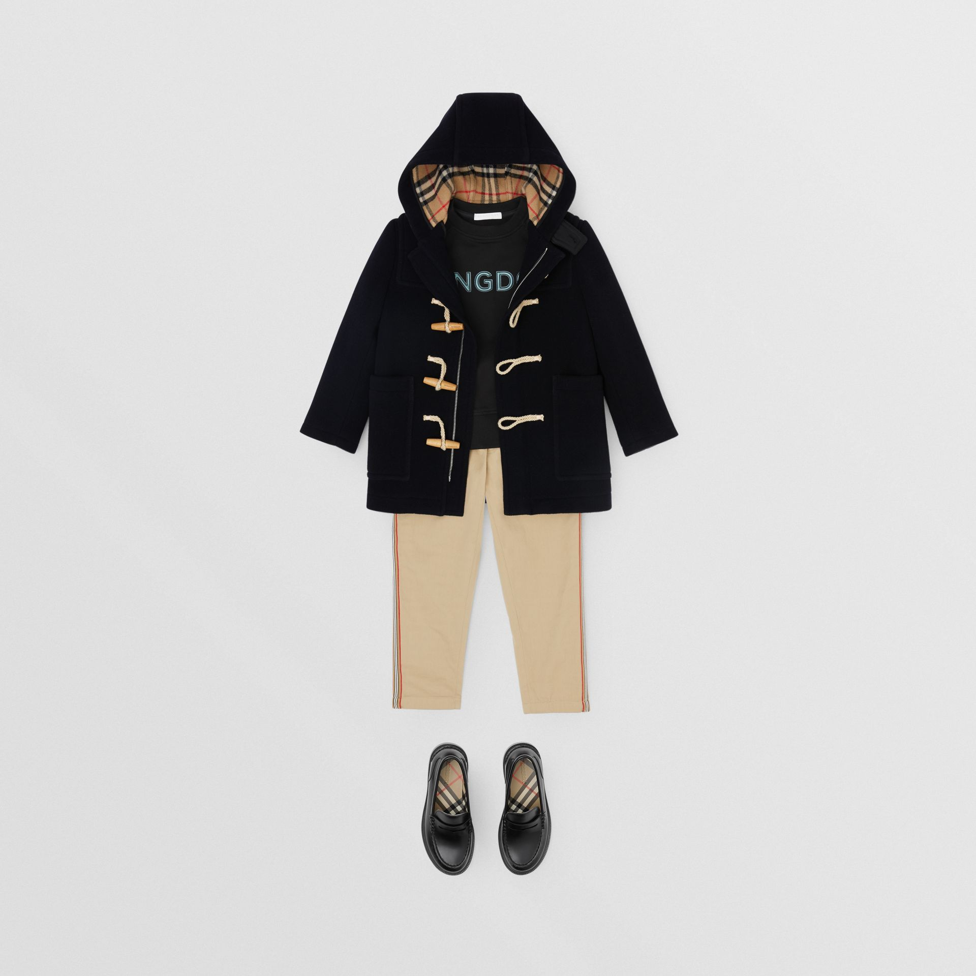 Boiled Wool Duffle Coat in Navy | Burberry - gallery image 3