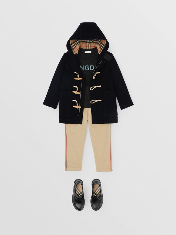 Boiled Wool Duffle Coat in Navy | Burberry - cell image 3