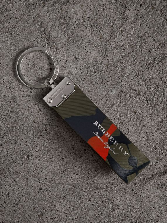 Splash Trench Leather Key Ring in Slate Green/splash