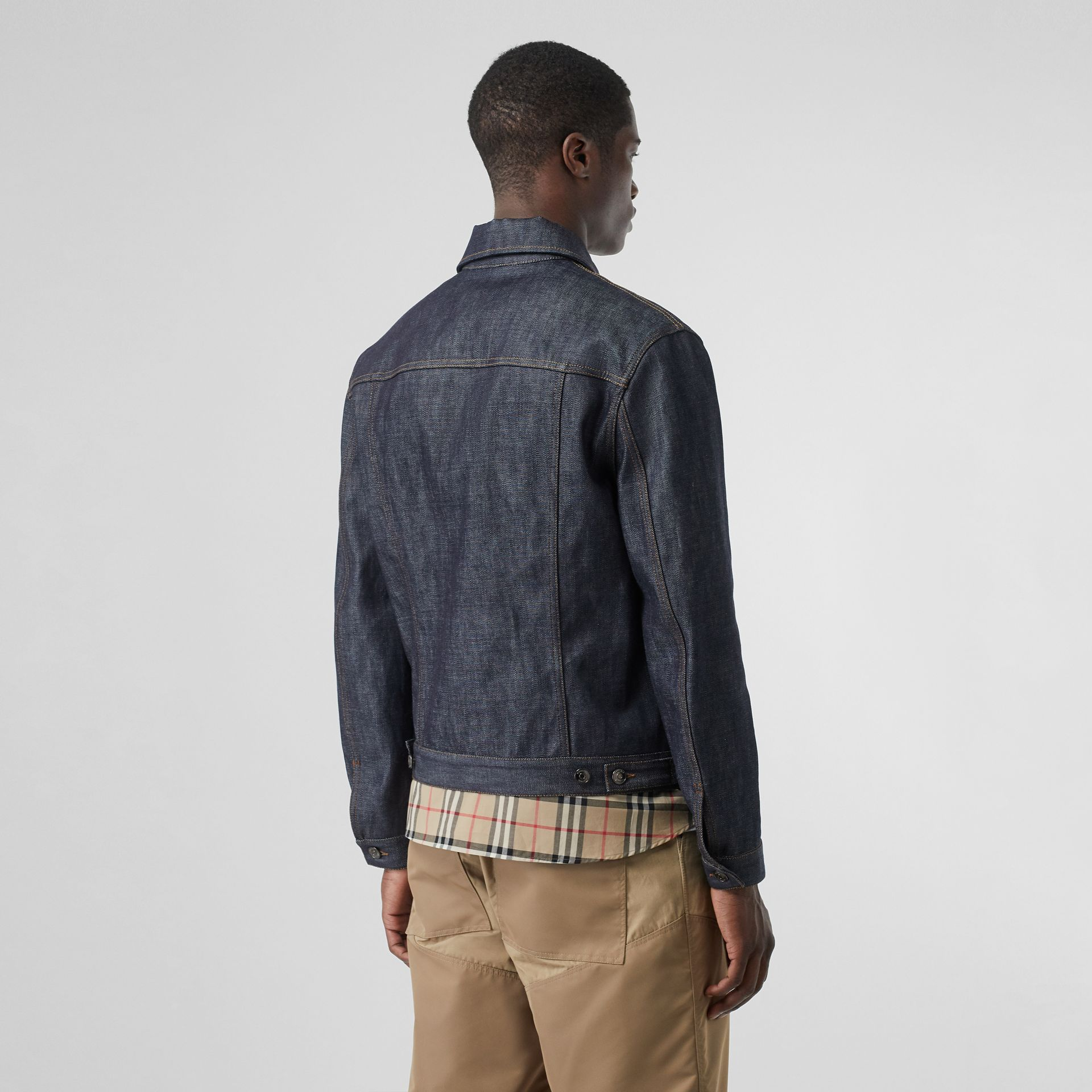 Leather Detail Japanese Selvedge Denim Jacket in Mid Indigo Blue - Men | Burberry - gallery image 2