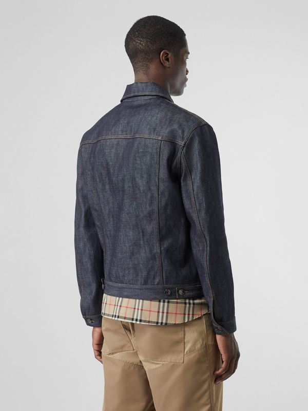 Leather Detail Japanese Selvedge Denim Jacket in Mid Indigo Blue - Men | Burberry - cell image 2