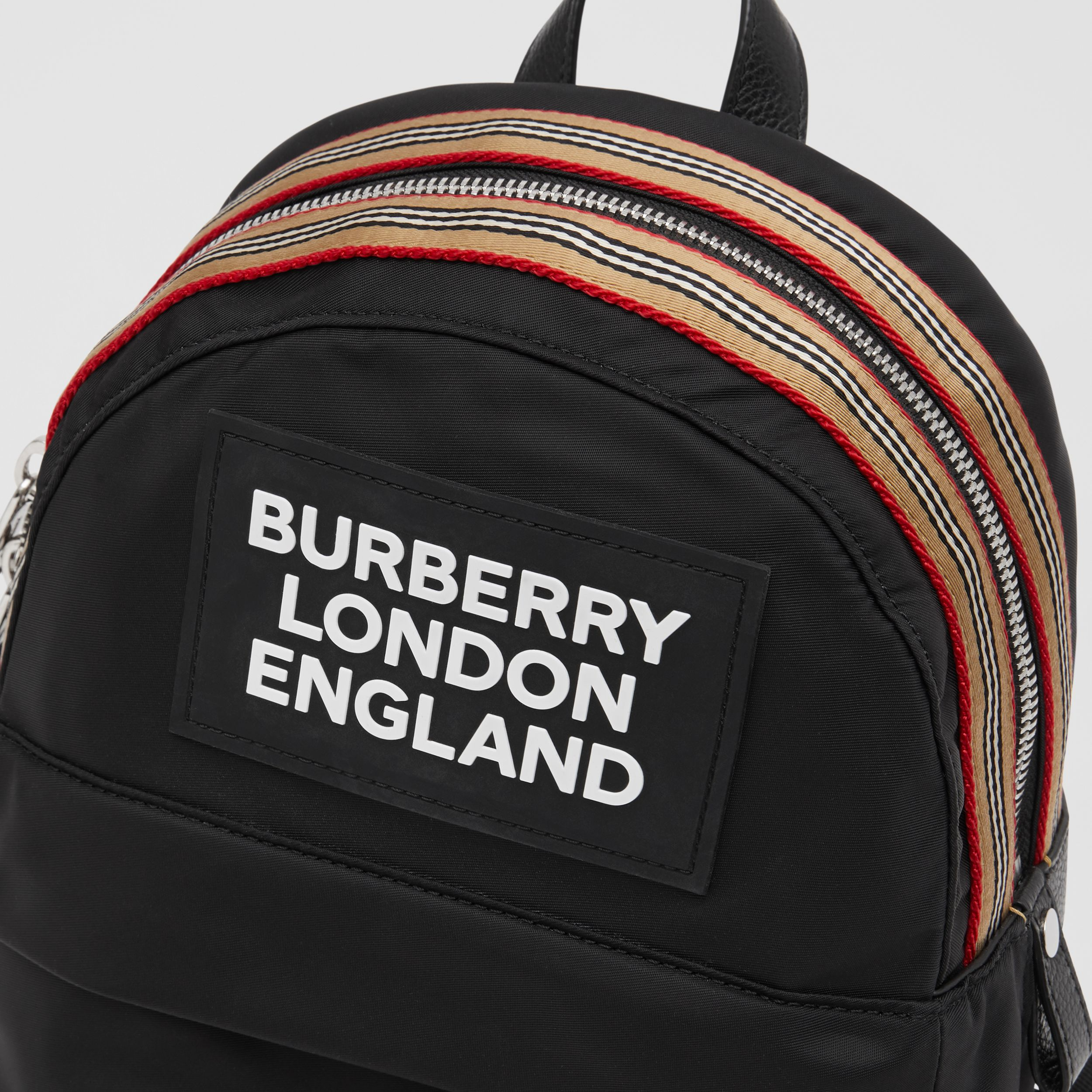 Logo Appliqué Icon Stripe Trim ECONYL® Backpack in Black - Children | Burberry - 2