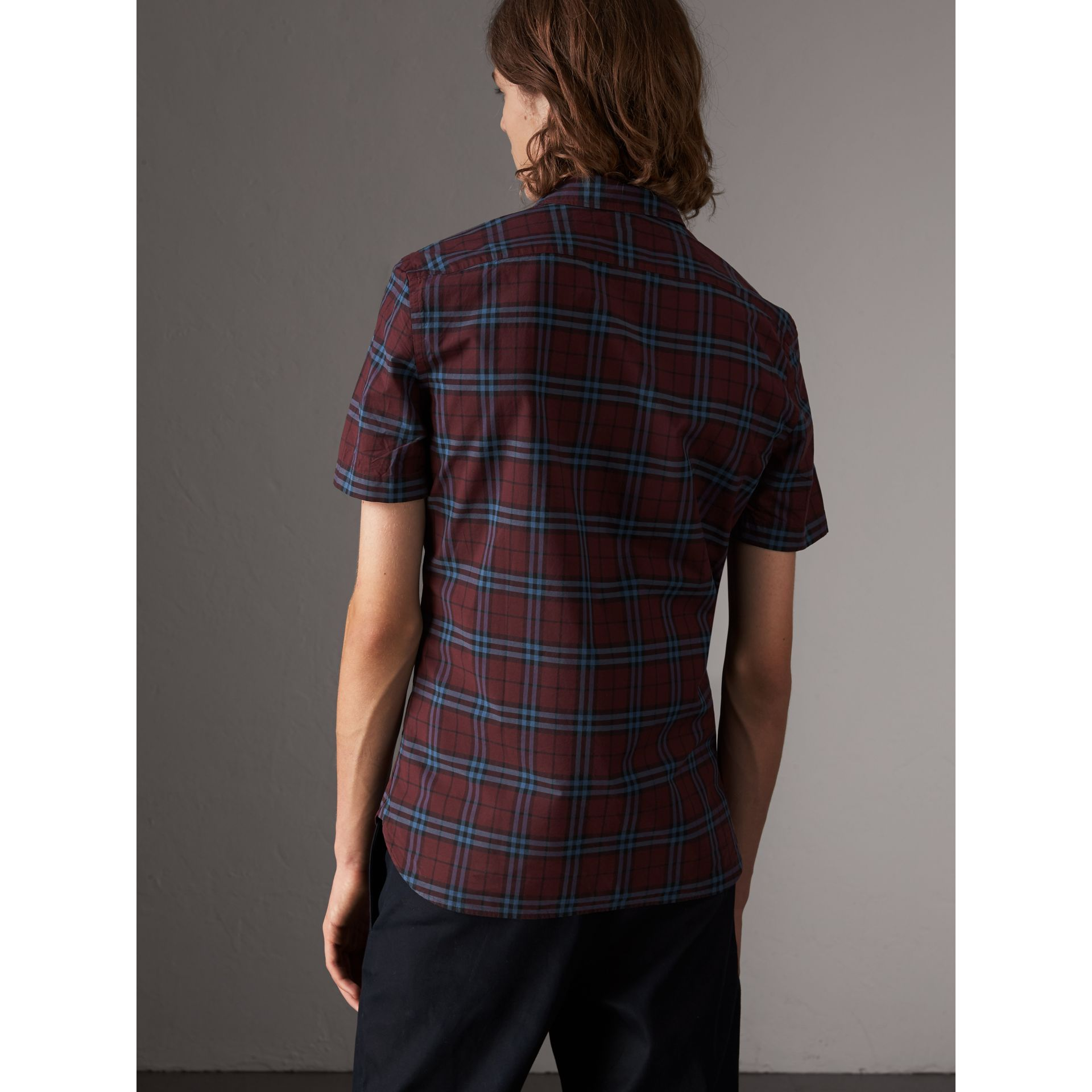 Short-sleeve Check Cotton Shirt in Crimson Red - Men | Burberry - gallery image 2