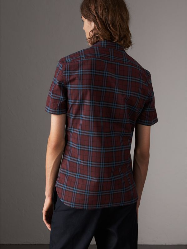 Short-sleeve Check Cotton Shirt in Crimson Red - Men | Burberry United Kingdom - cell image 2