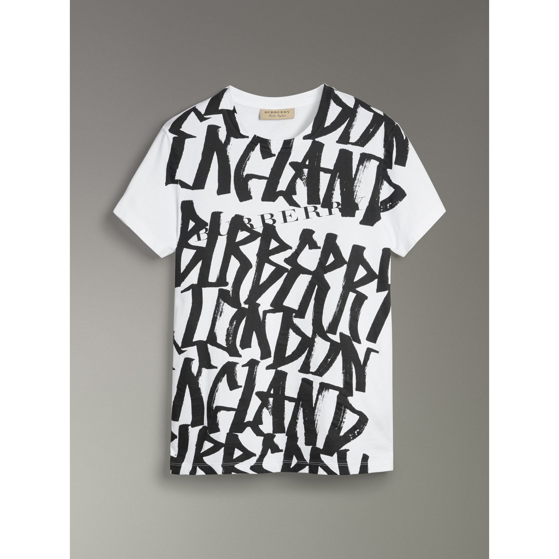 Graffiti Print Cotton T-shirt in White - Men | Burberry - gallery image 3