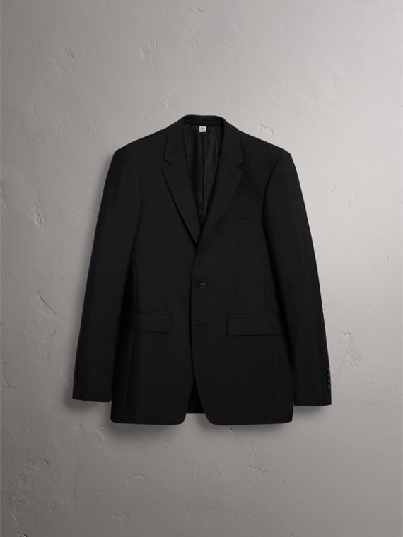 Modern Fit Wool Mohair Part-canvas Jacket in Black - Men | Burberry United States - cell image 3