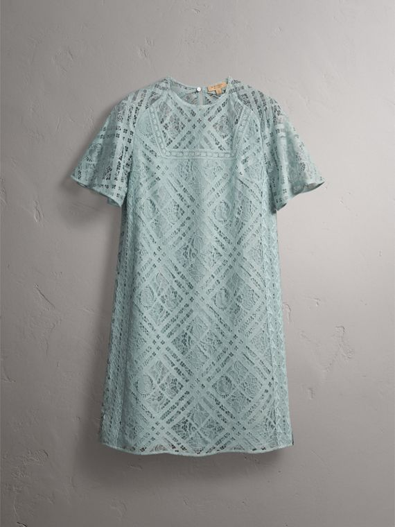 Flare-sleeve Check Lace Shift Dress in Pale Slate Blue - Women | Burberry - cell image 3