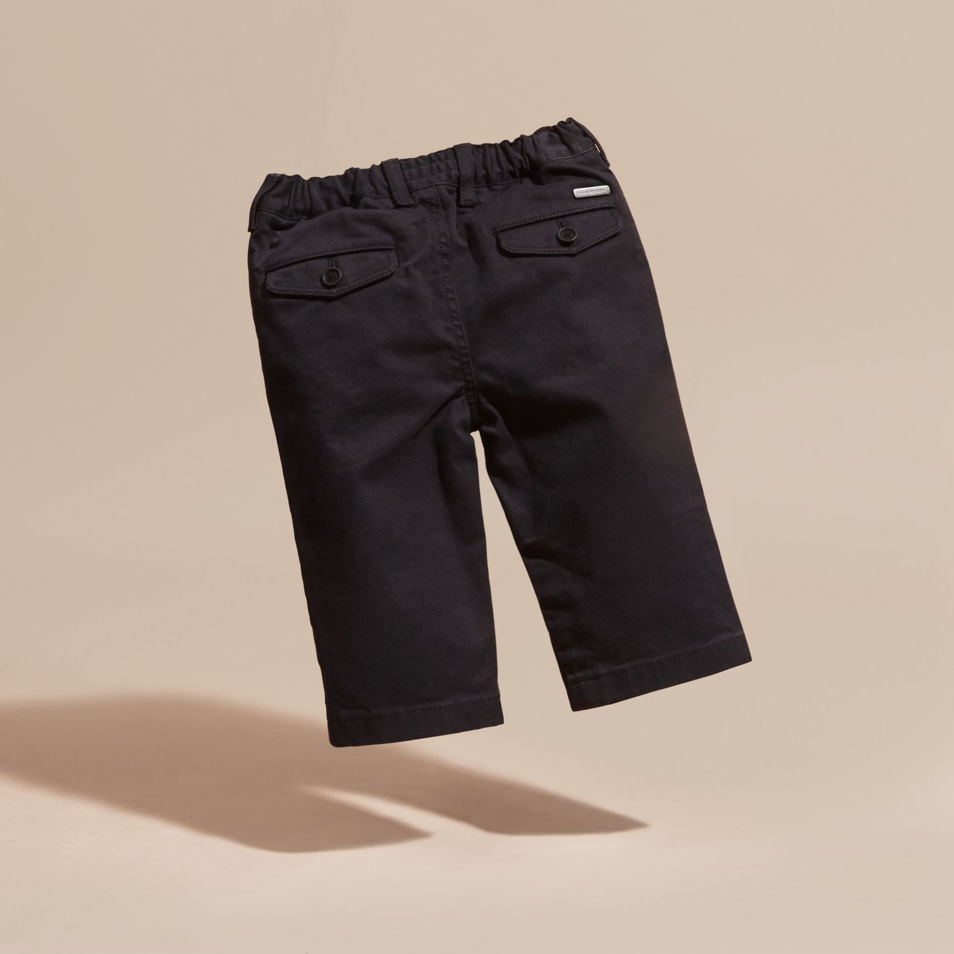 Navy Stretch Cotton Twill Chinos - gallery image 4