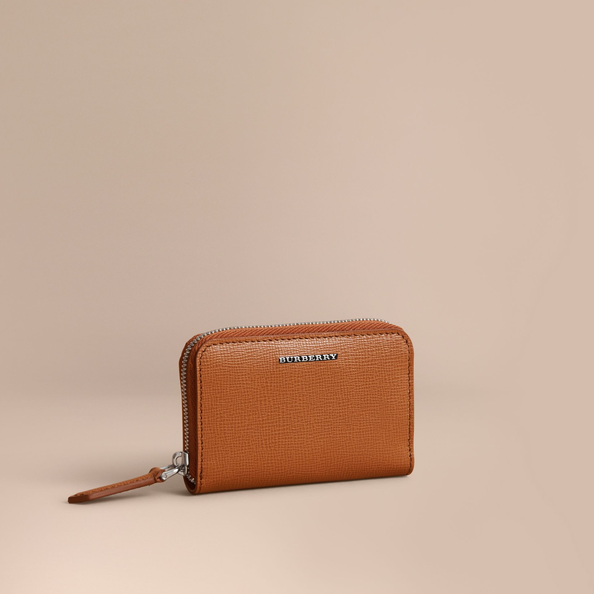 London Leather Ziparound Coin Case in Tan | Burberry Canada - gallery image 1