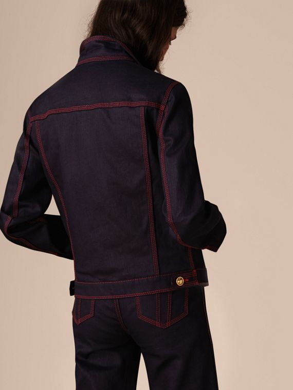Deep indigo Military Detail Japanese Denim Jacket - cell image 2