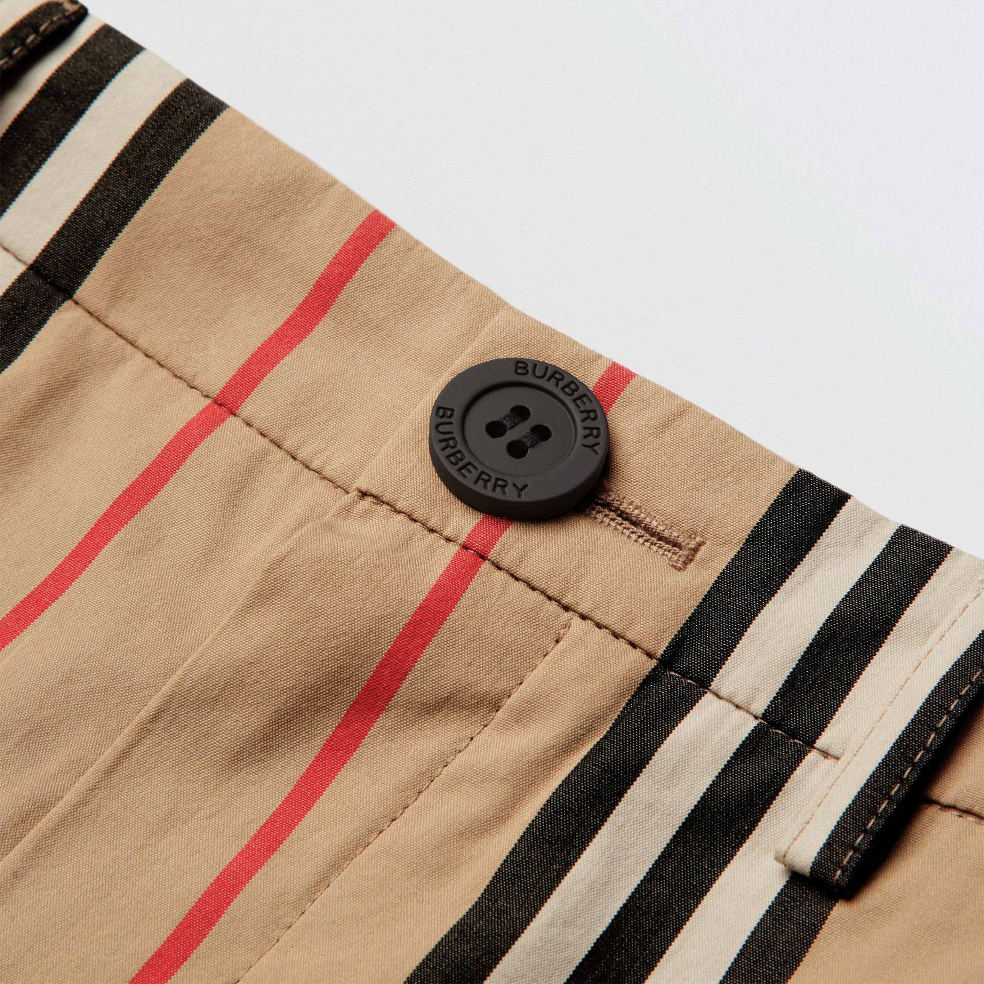 Icon Stripe Cotton Chino Shorts in Archive Beige | Burberry - gallery image 1