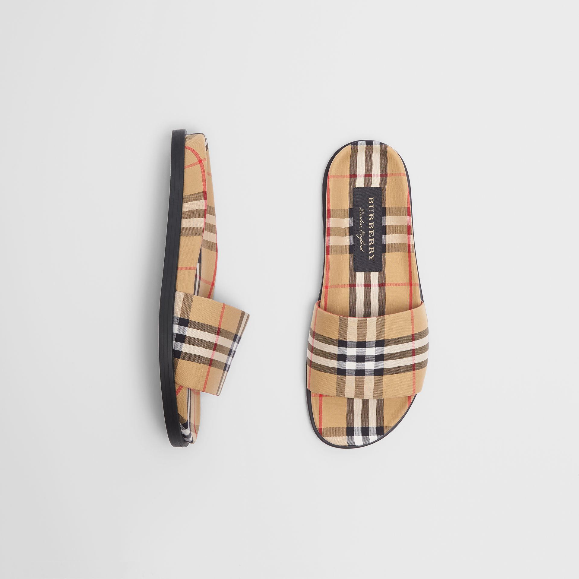 Vintage Check Slides in Antique Yellow | Burberry United Kingdom - gallery image 0