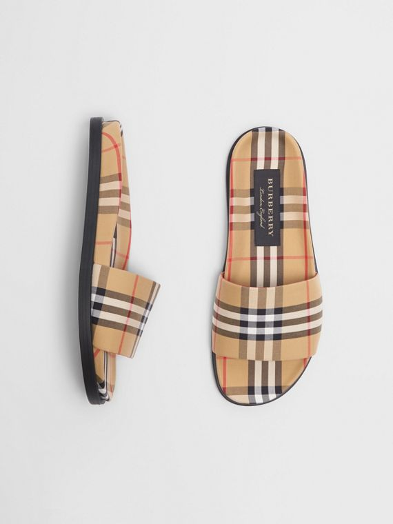 Vintage Check Slides in Antique Yellow