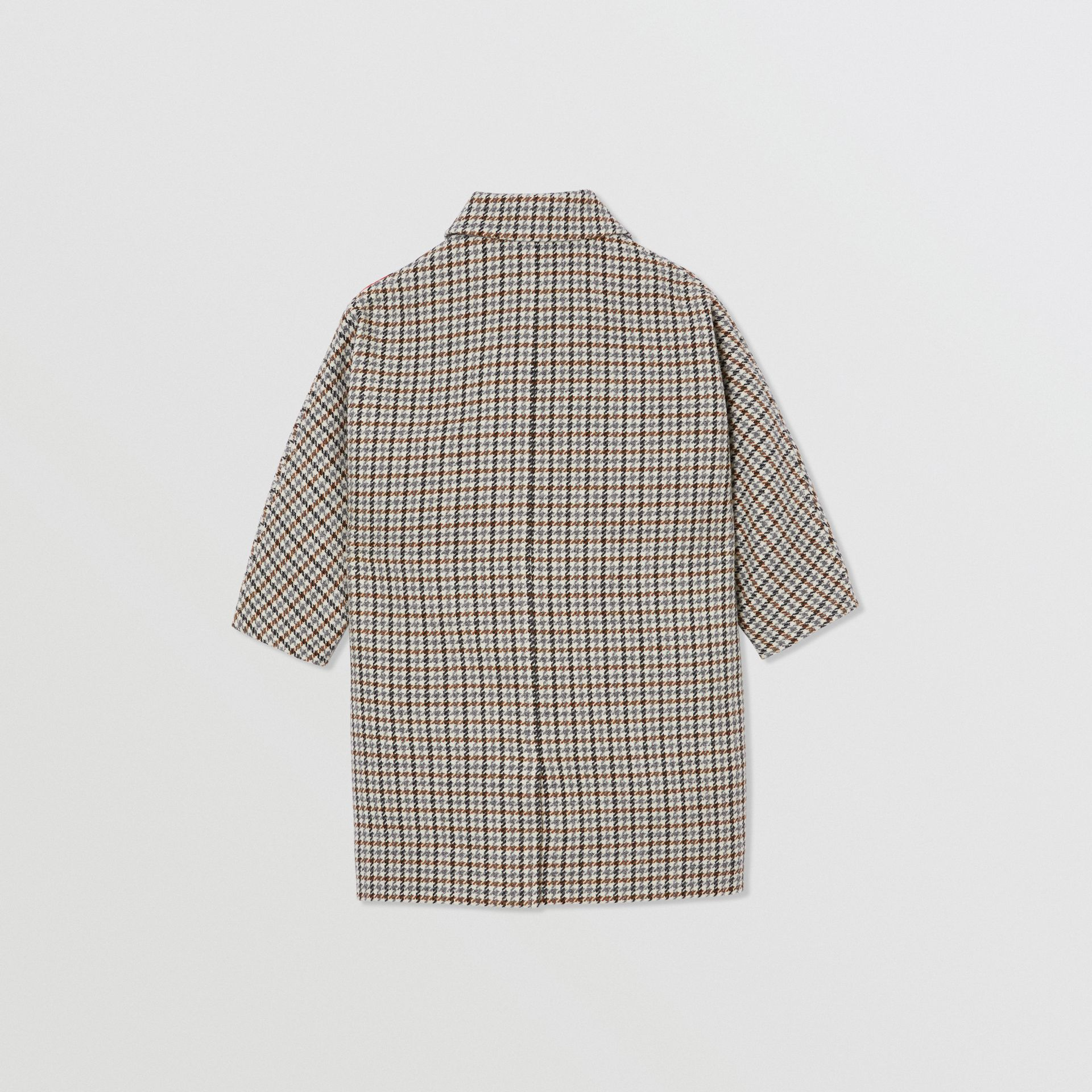 Logo Panel Houndstooth Check Wool Coat in Rust Brown | Burberry - gallery image 3