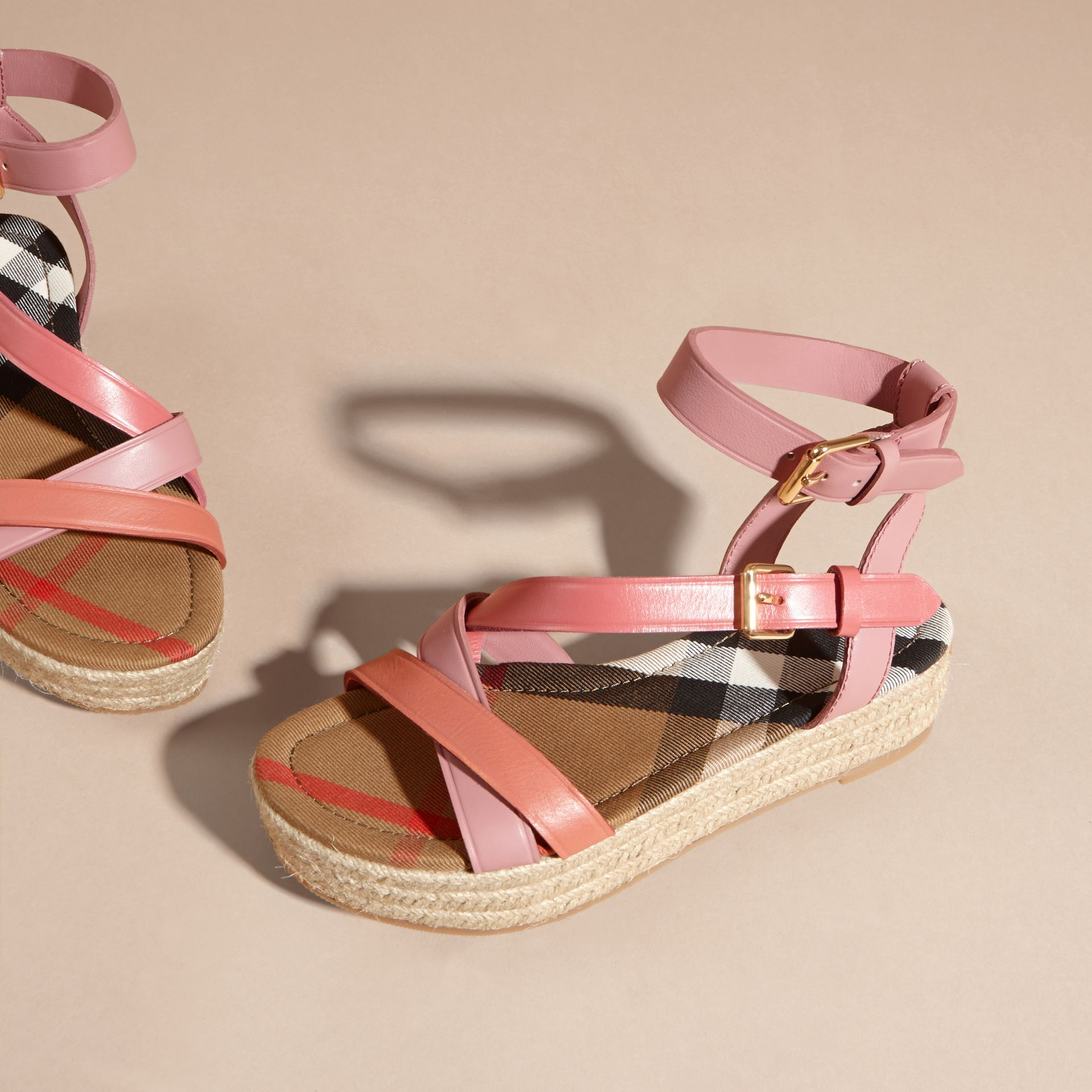 Two-tone Leather Espadrille Sandals in Dusty Pink - Women | Burberry Australia - gallery image 4