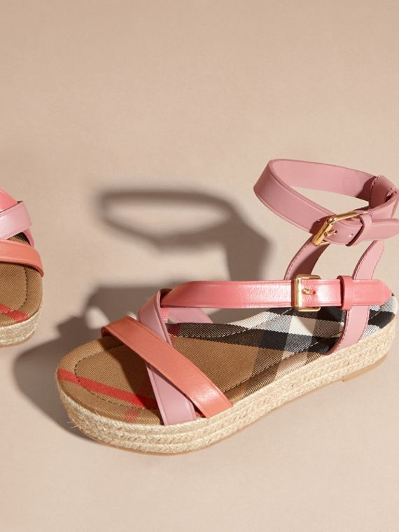 Two-tone Leather Espadrille Sandals in Dusty Pink - Women | Burberry Australia - cell image 3