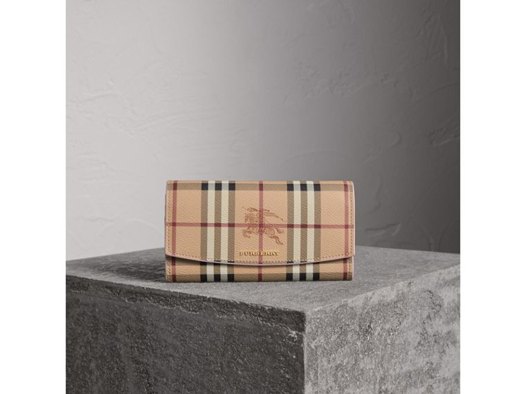 Haymarket Check and Leather Slim Continental Wallet in Light Elderberry - Women | Burberry - cell image 4