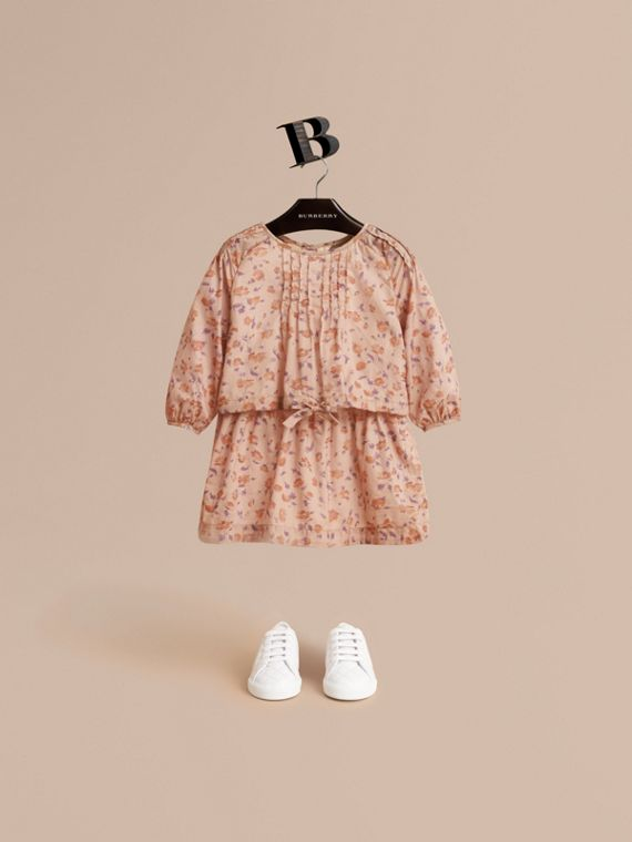 Pintuck Detail Floral Cotton Dress - Children | Burberry Australia