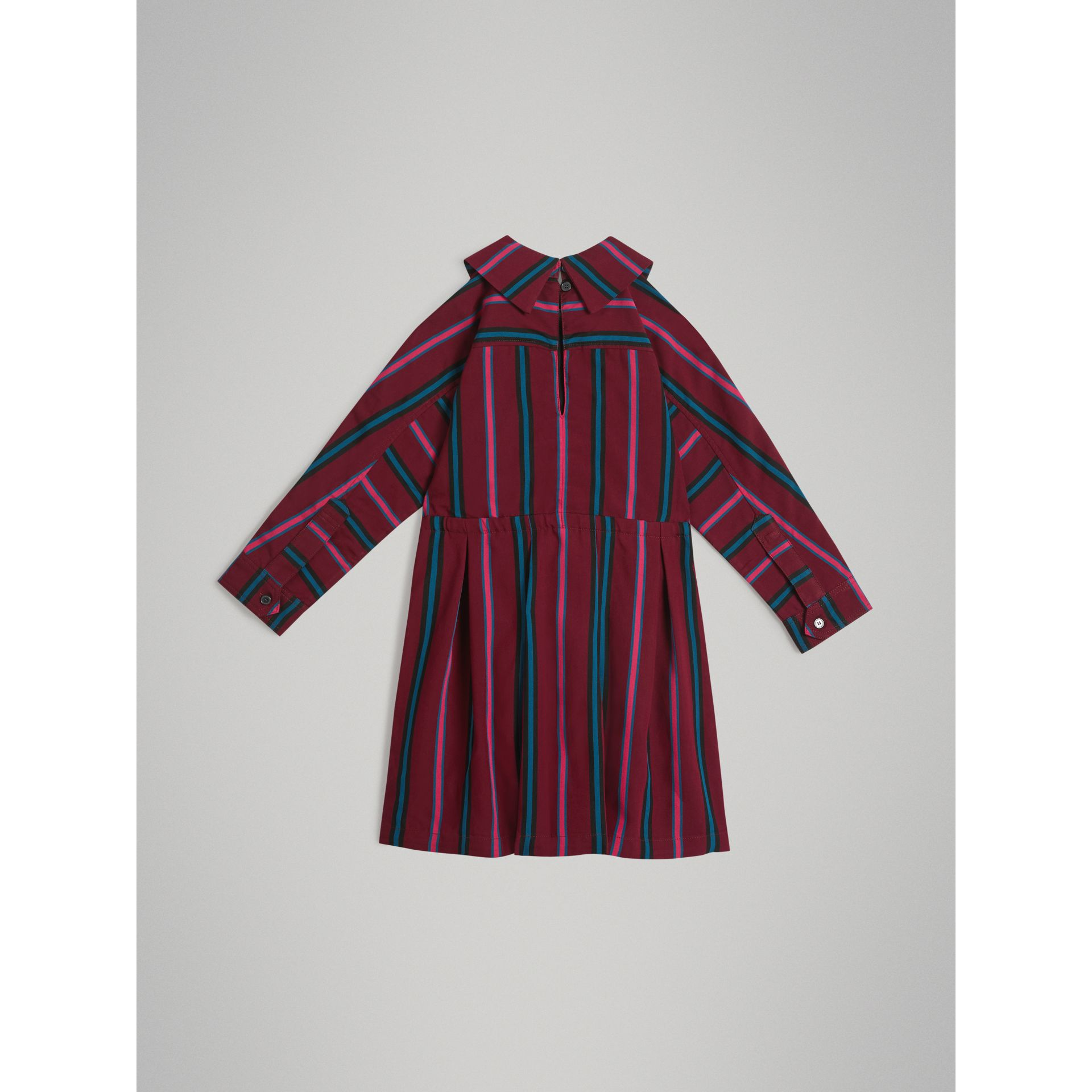 Striped Drawcord Dress in Burgundy | Burberry - gallery image 3