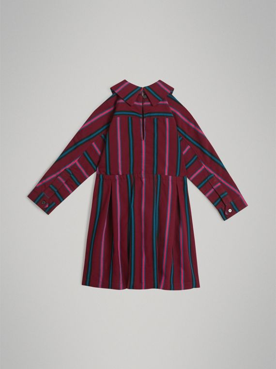 Striped Drawcord Dress in Burgundy - Girl | Burberry United States - cell image 3