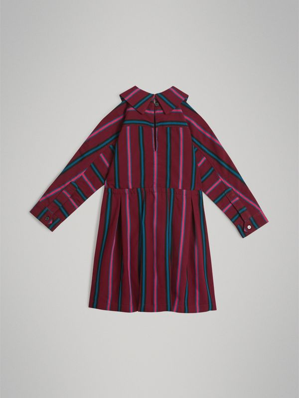 Striped Drawcord Dress in Burgundy | Burberry - cell image 3