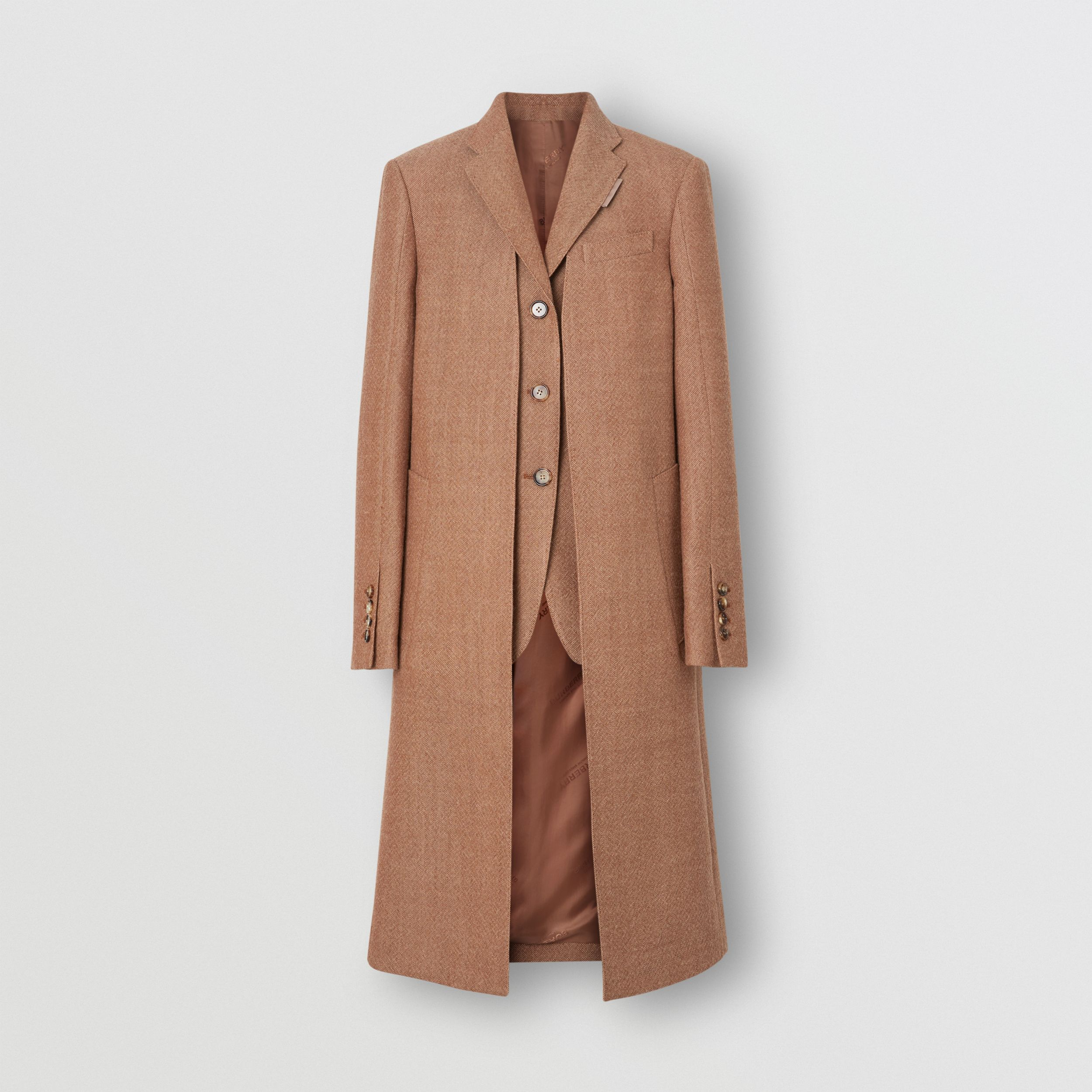 Waistcoat Detail Wool Tailored Coat in Bronze - Women | Burberry - 4