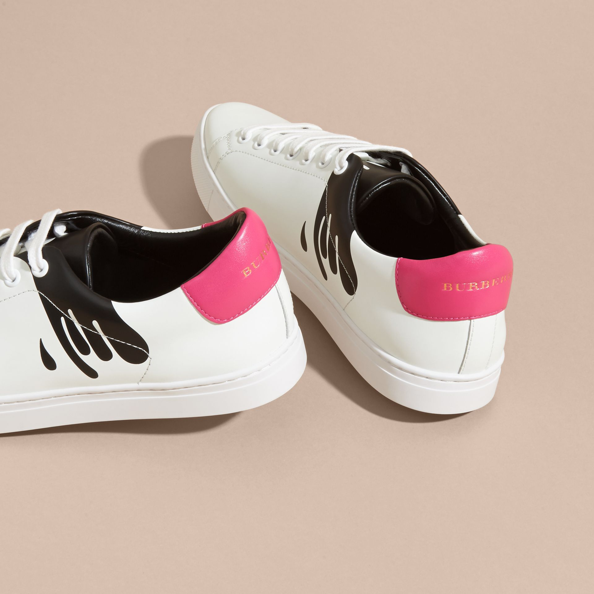 Splash Motif Leather Trainers in Optic White/black - gallery image 4