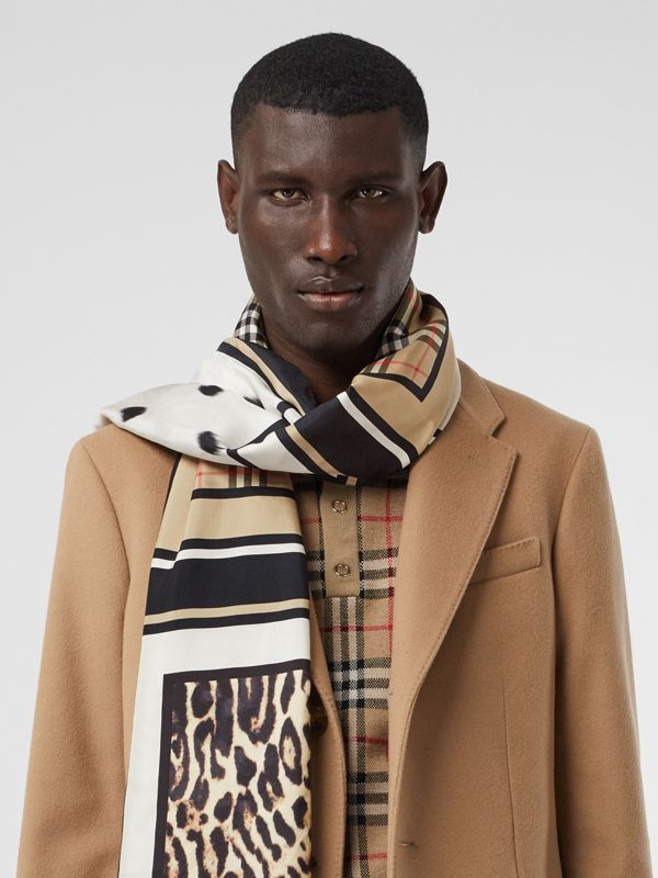 Vintage Check and Animal Print Silk Scarf in Archive Beige - Women | Burberry Australia - cell image 3