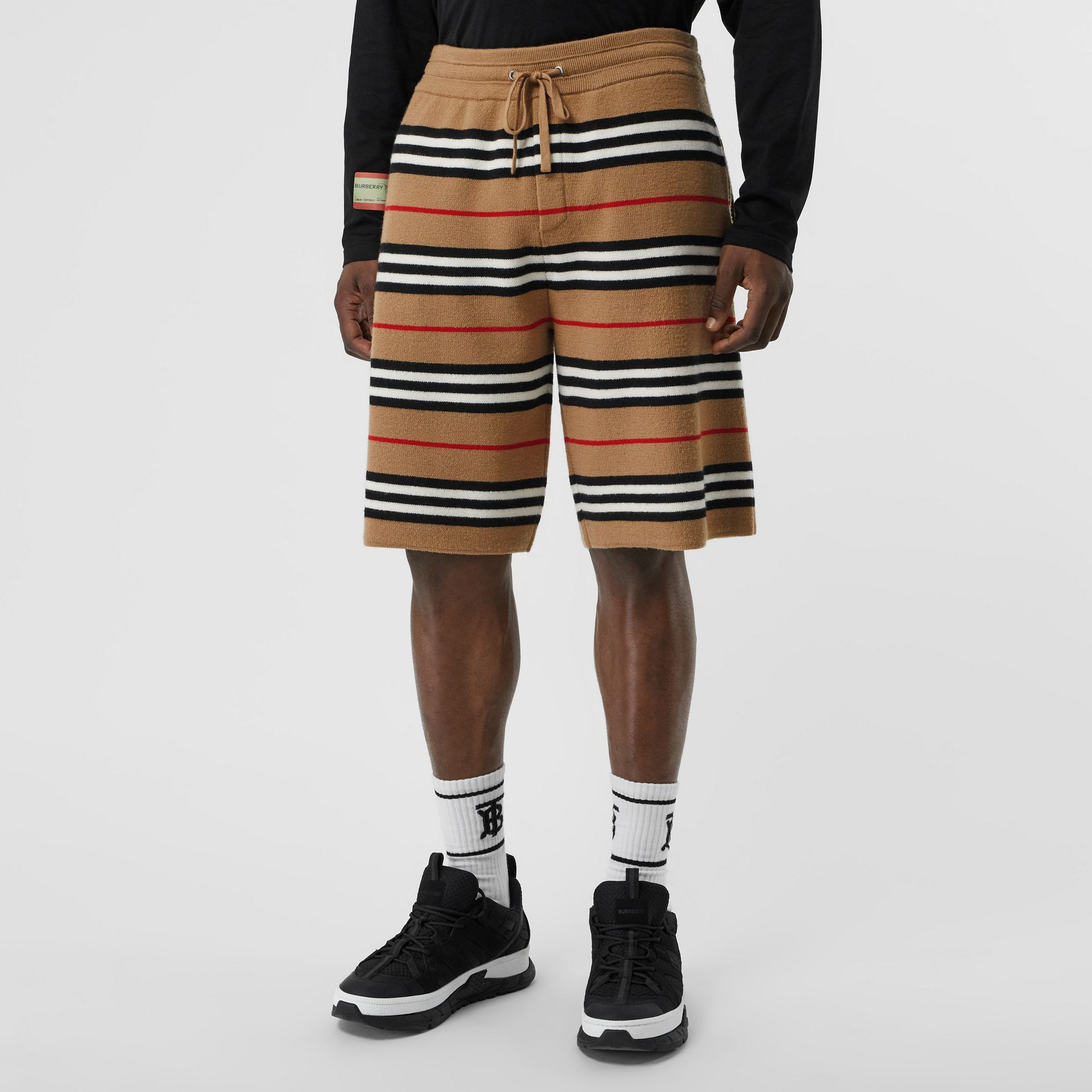 Icon Stripe Merino Wool Drawcord Shorts in Archive Beige - Men | Burberry United States - gallery image 4