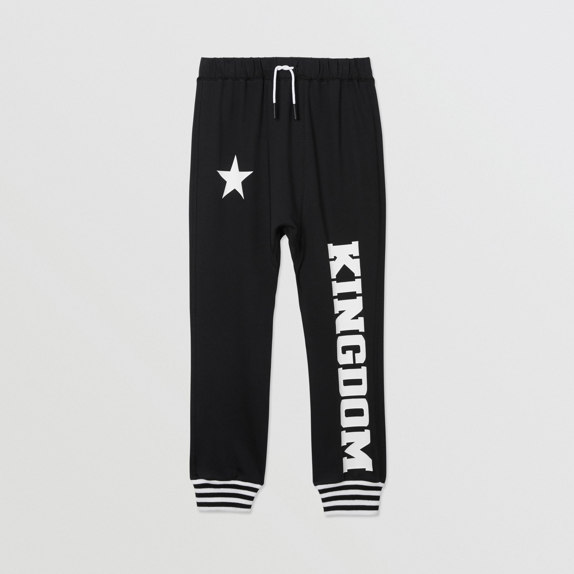 Kingdom and Star Print Cotton Trackpants in Black | Burberry United Kingdom - gallery image 0