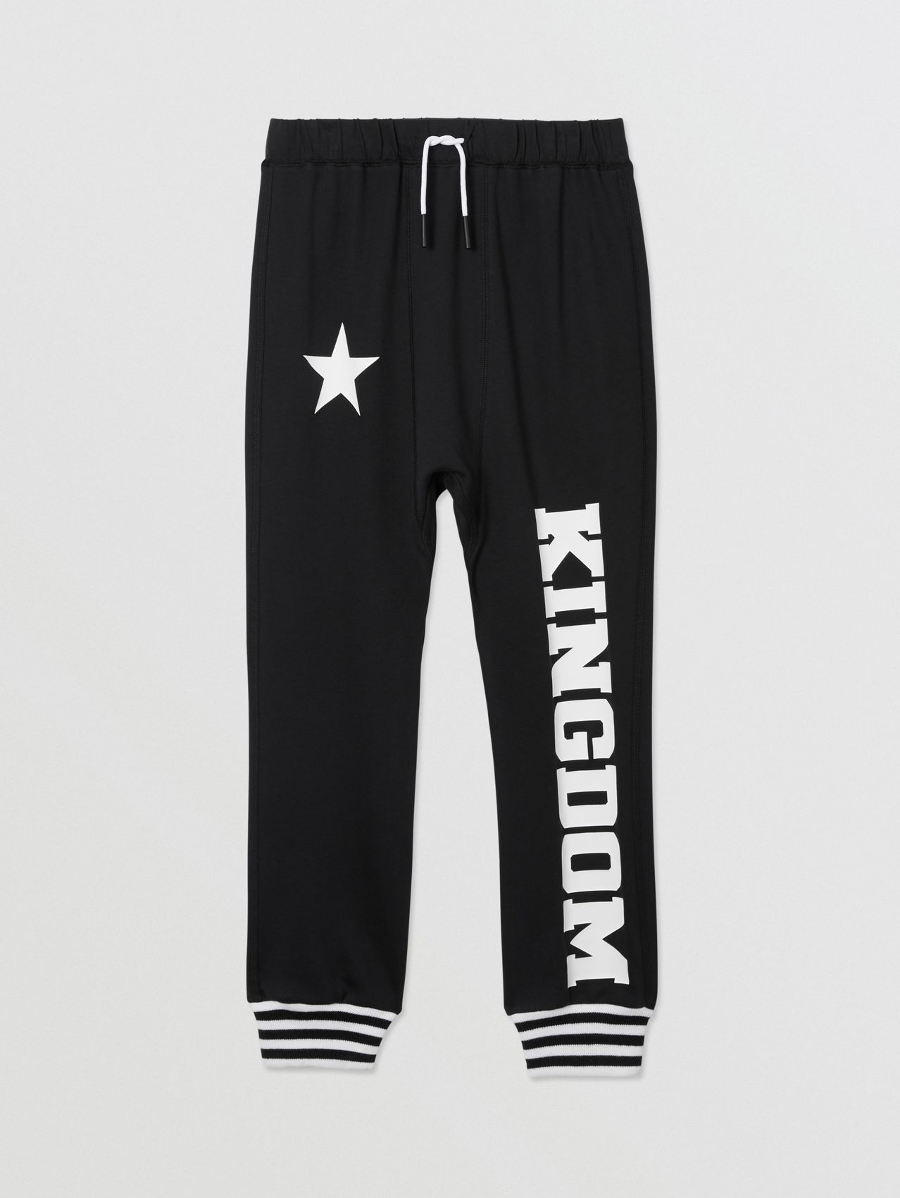Kingdom and Star Print Cotton Trackpants in Black