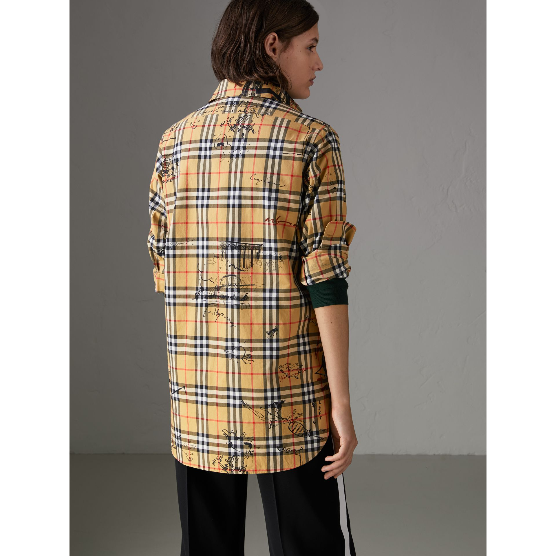 Postcard Print Vintage Check Tunic Shirt in Antique Yellow - Women | Burberry - gallery image 2