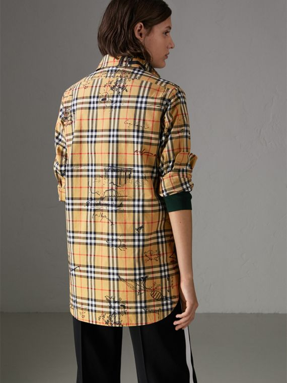 Postcard Print Vintage Check Tunic Shirt in Antique Yellow - Women | Burberry United States - cell image 2