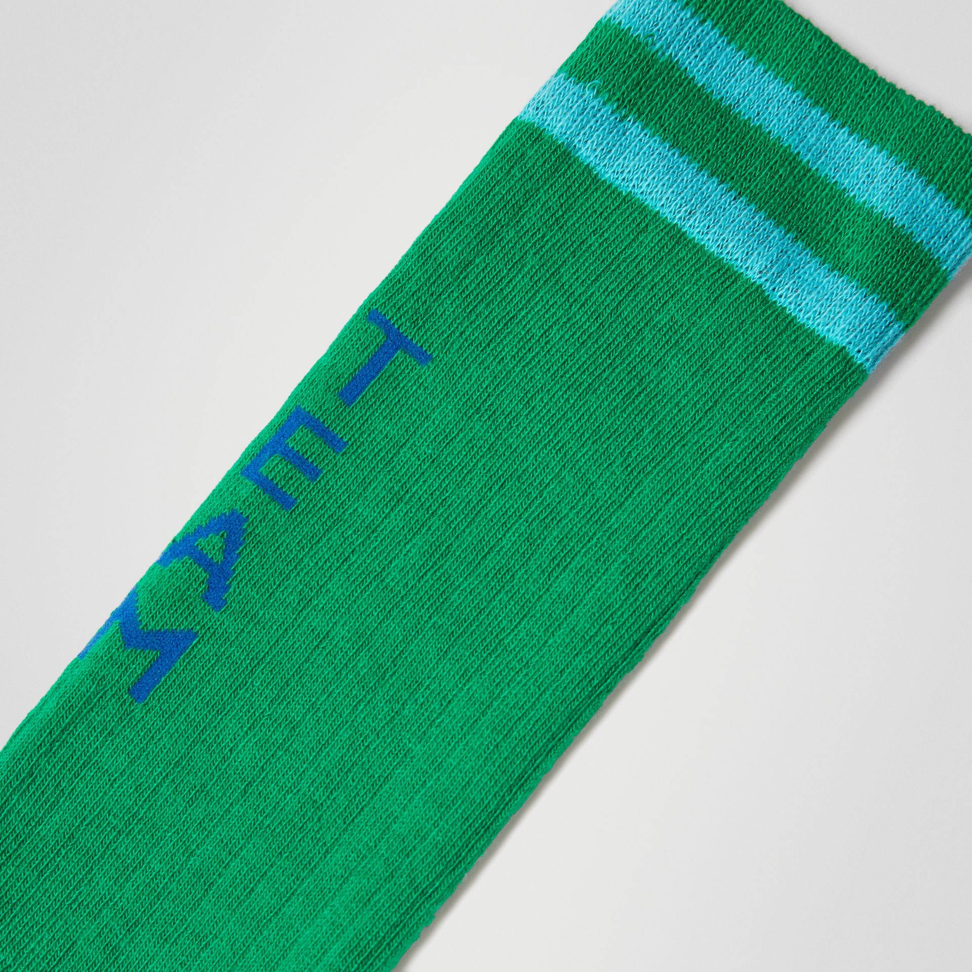 Logo Striped Cotton Blend Socks in Grass Green - Children | Burberry - gallery image 1