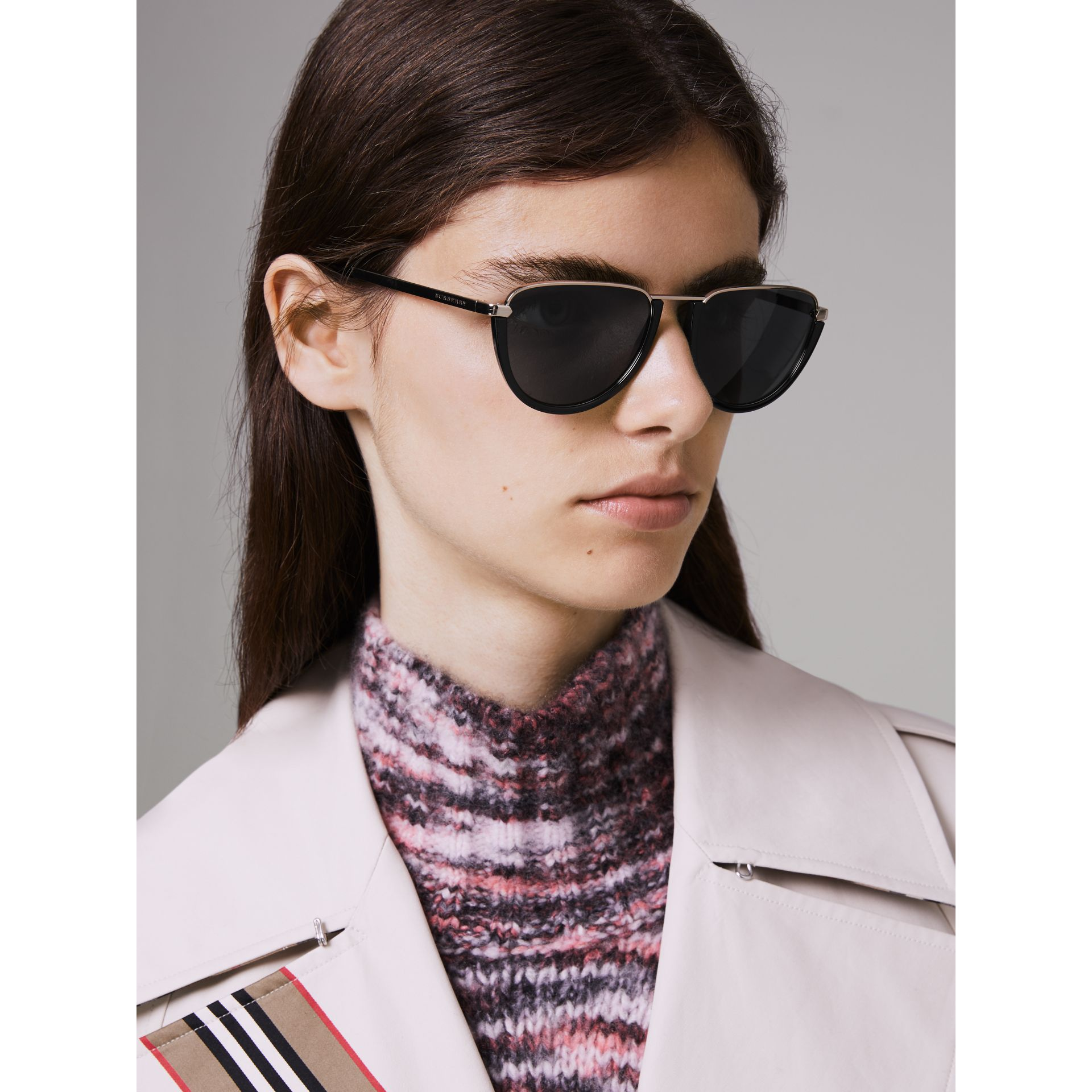 Half Moon Pilot Round Frame Sunglasses in Black - Women | Burberry - gallery image 2