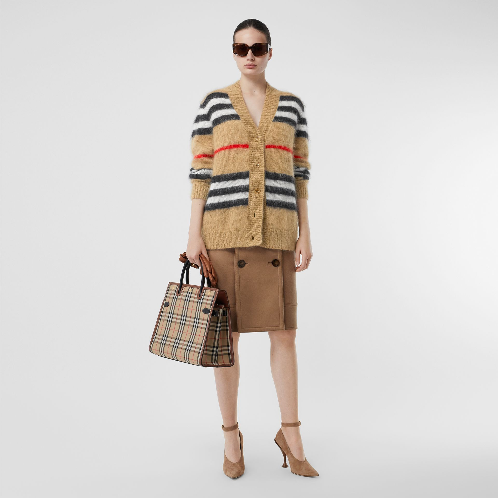 Icon Stripe Mohair Wool Blend Cardigan in Archive Beige - Women | Burberry - gallery image 4