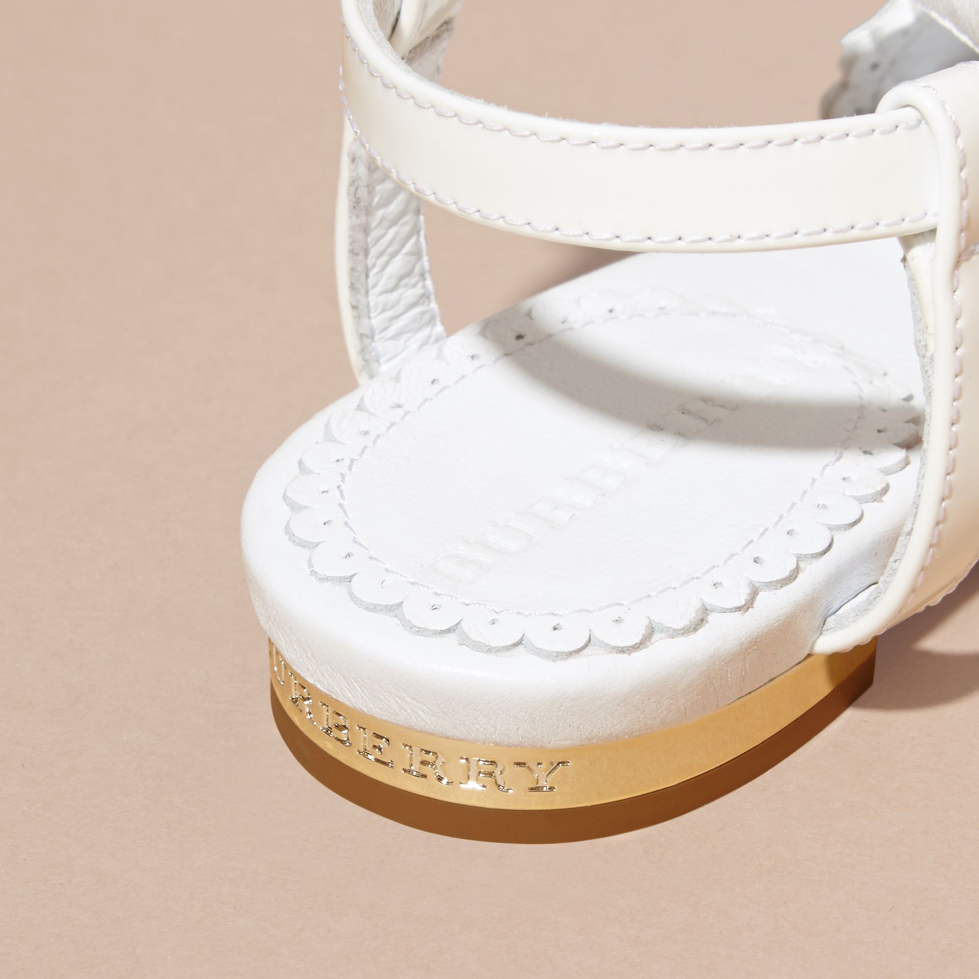 Scallop Trim Leather Sandals - gallery image 2