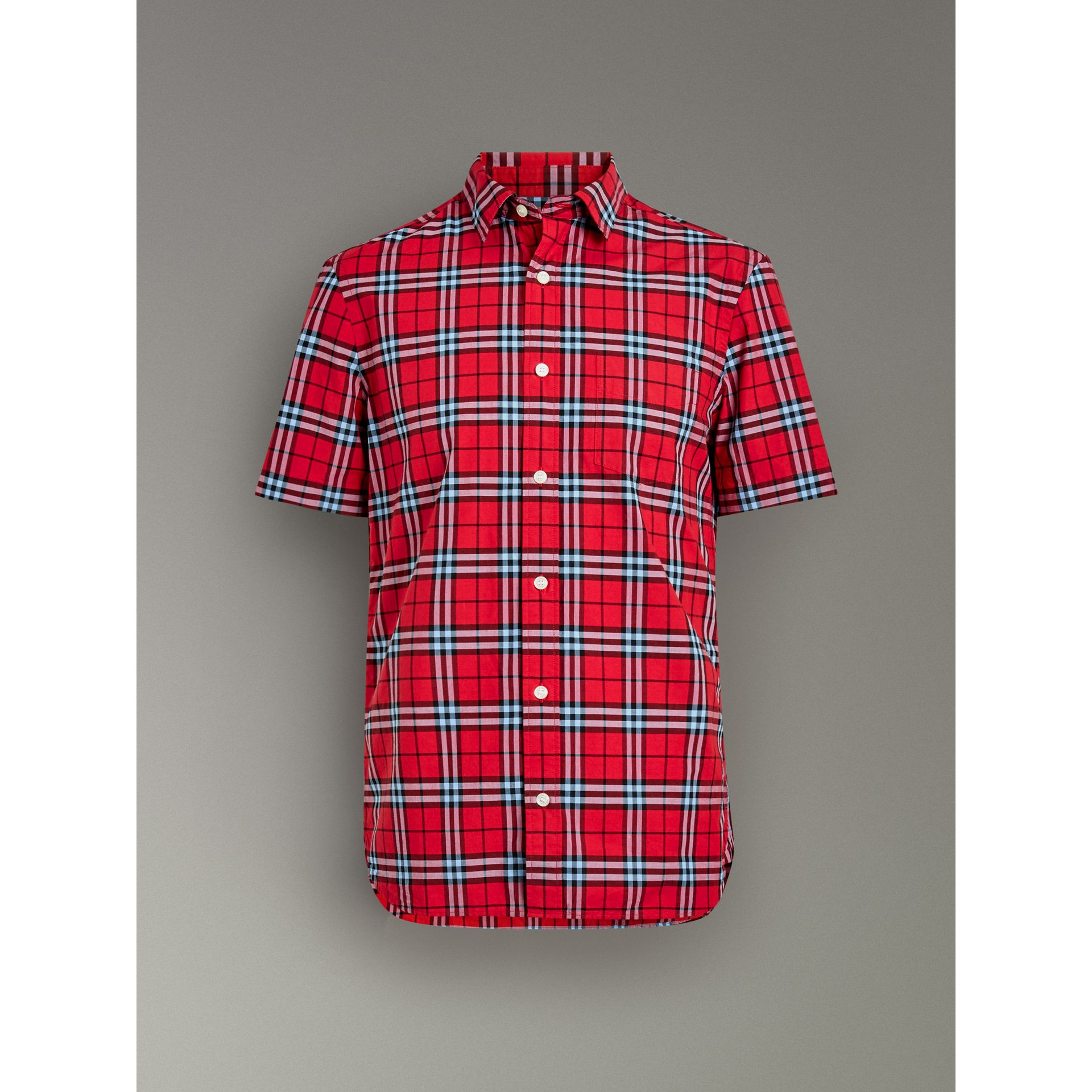 Short-sleeve Check Cotton Shirt in Bright Red - Men | Burberry - gallery image 3