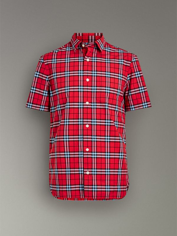Short-sleeve Check Cotton Shirt in Bright Red - Men | Burberry - cell image 3
