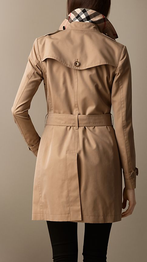 Honey Check Detail Cotton Poplin Trench Coat - Image 2