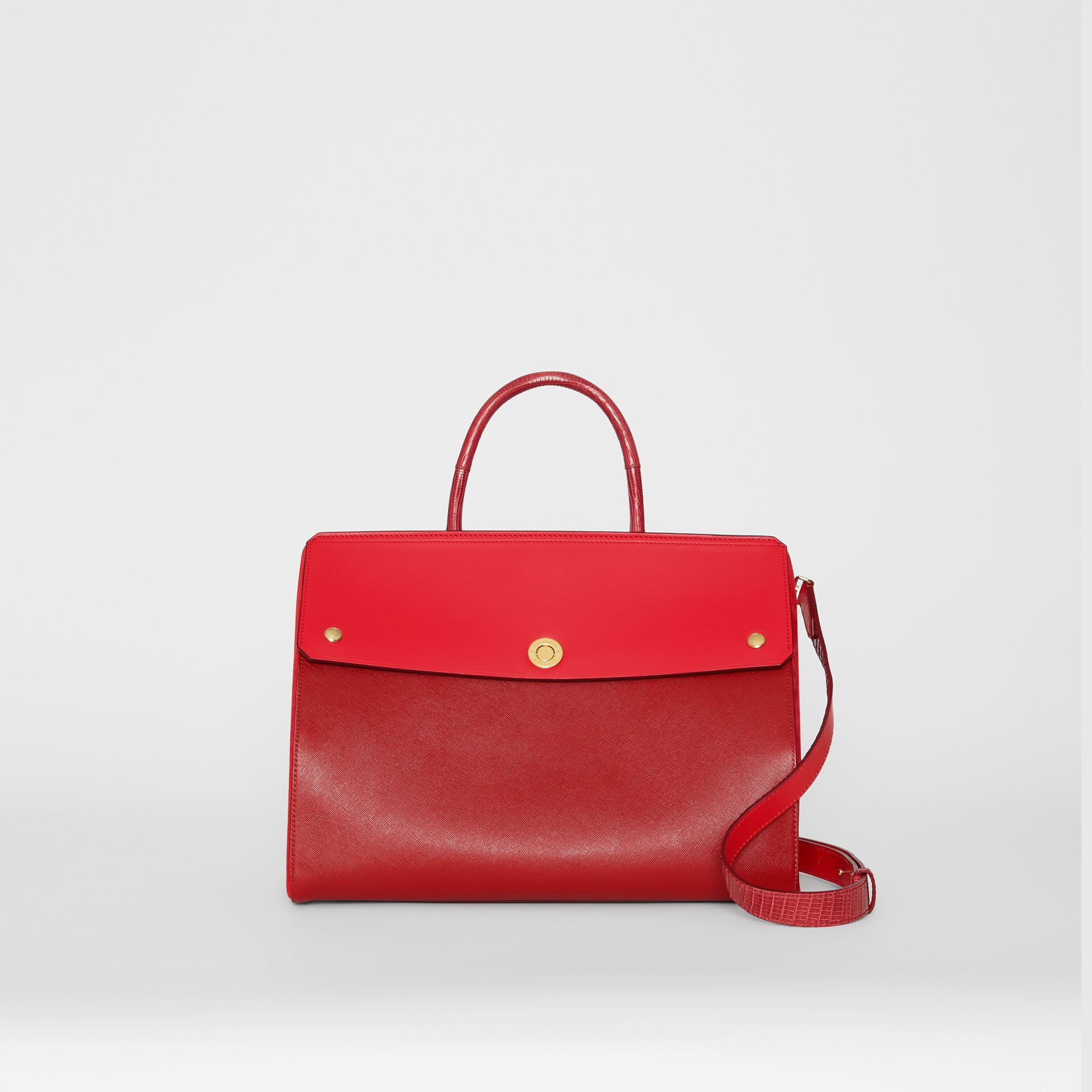 Small Leather and Suede Elizabeth Bag in Bright Military Red - Women | Burberry - gallery image 0