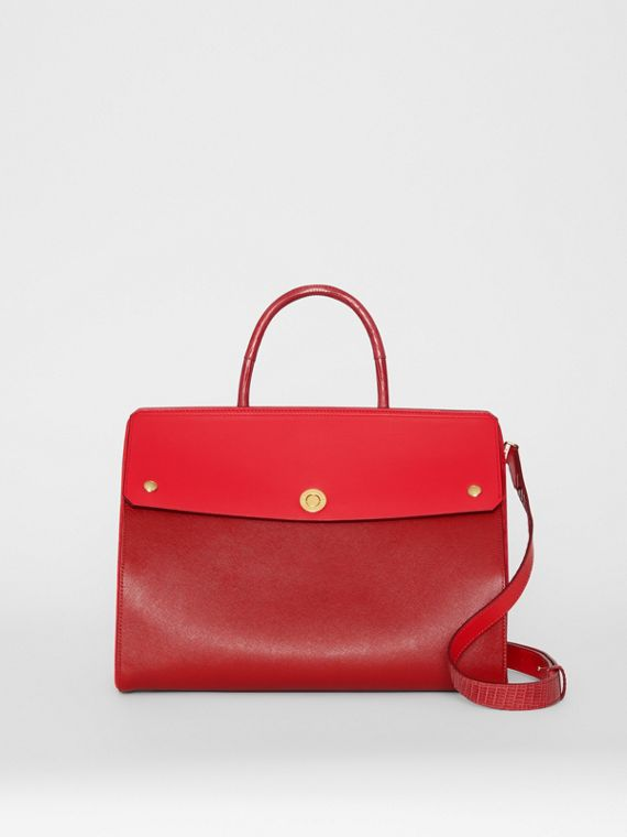 Small Leather and Suede Elizabeth Bag in Bright Military Red