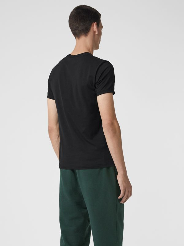 Cotton Jersey V-neck T-shirt in Black - Men | Burberry - cell image 2