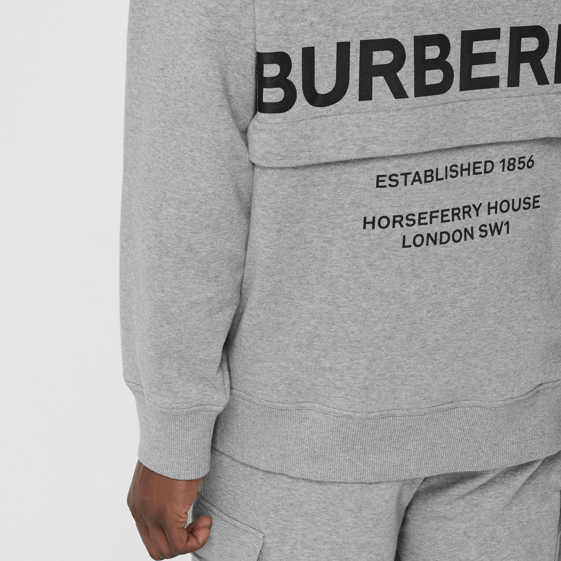 Horseferry Print Cotton Hoodie in Pale Grey Melange - Men | Burberry United Kingdom - gallery image 4