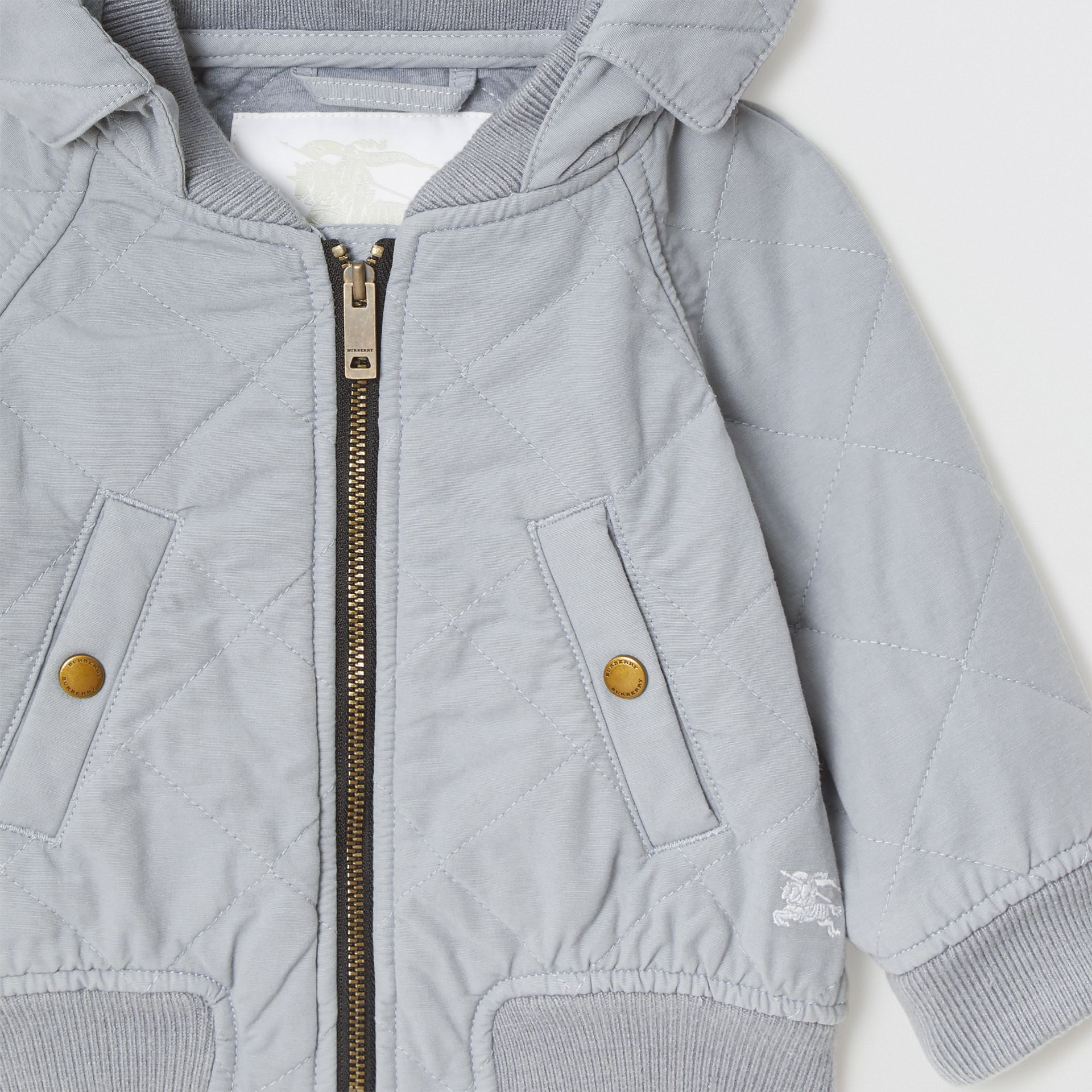 Diamond Quilted Cotton Hooded Jacket in Dusty Blue - Children | Burberry - gallery image 4