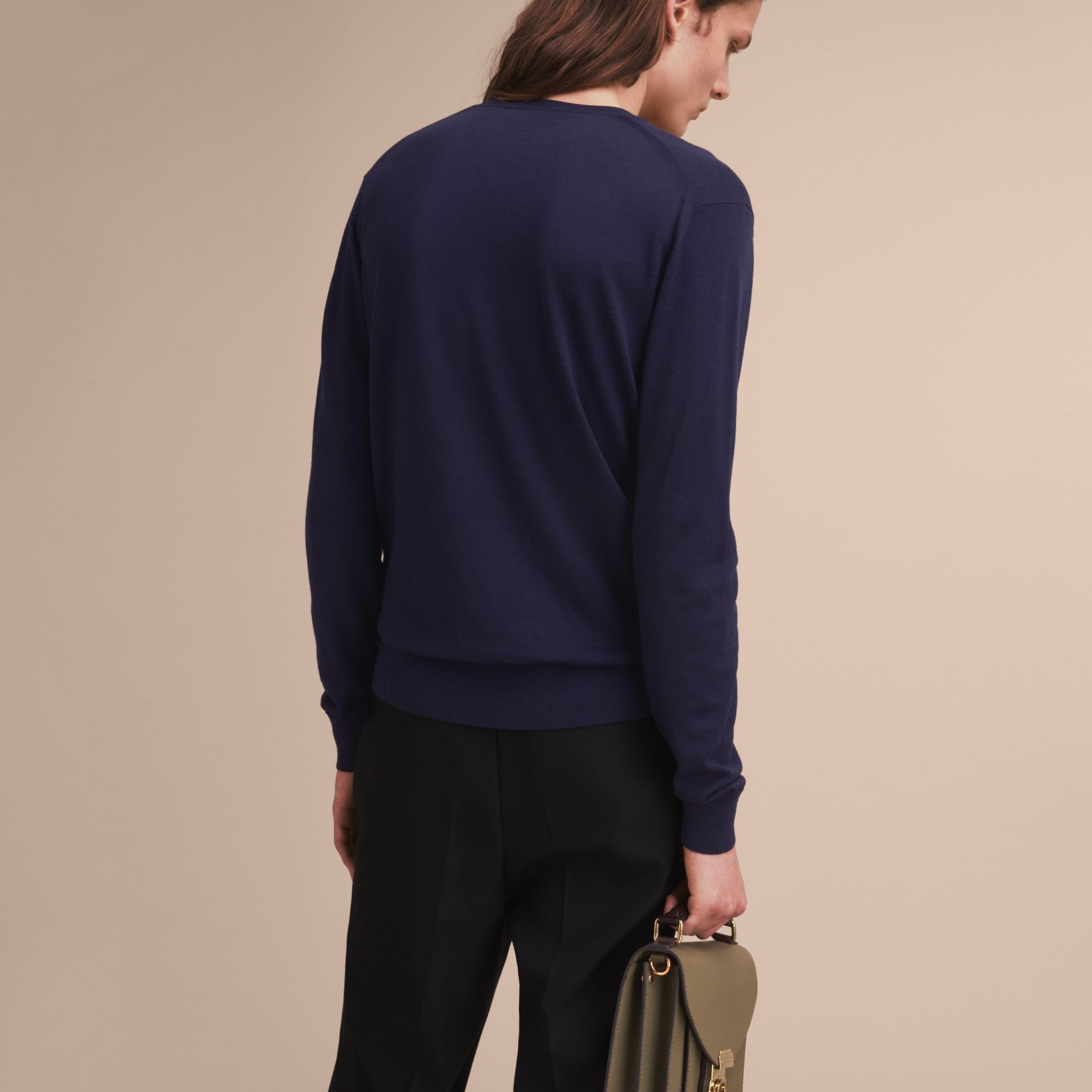 Pallas Helmet Motif Merino Wool V-neck Sweater in Navy - Men | Burberry - gallery image 3